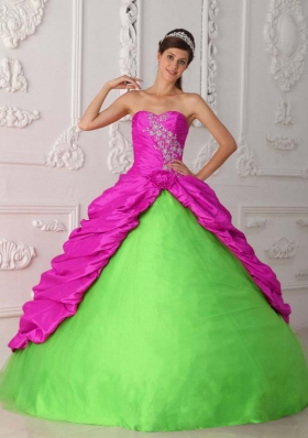 Elegant Ball Gown Sweetheart Quinceanera Dress with Taffeta Appliques Ruching