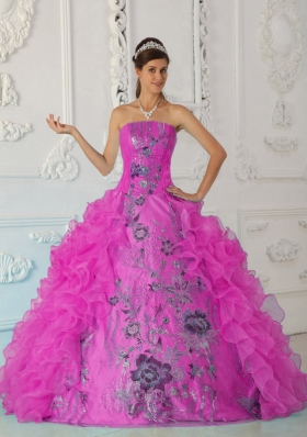 Exquisite Ball Gown Strapless Quinceanera Dress with  Embroidery