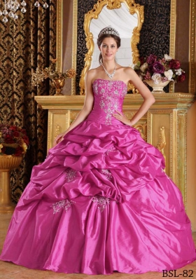 Fuchsia Ball Gown Strapless Quinceanera Dress with  Pick-ups Taffeta