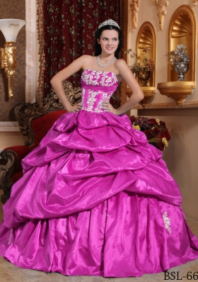Fuchsia Ball Gown Strapless Quinceanera Dress with  Taffeta Appliques