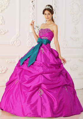 Fuchsia Ball Gown Strapless Quinceanera Dress with  Taffeta Beading