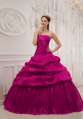 Fuchsia Ball Gown Strapless Quinceanera Dress with Taffeta Ruffles