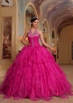 Hot Pink Ball Gown Halter Quinceanera Dress with Organza Embroidery