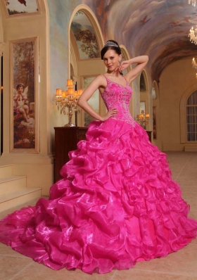 Hot Pink Ball Gown Spaghetti Straps Quinceanera Dress with Organza Embroidery