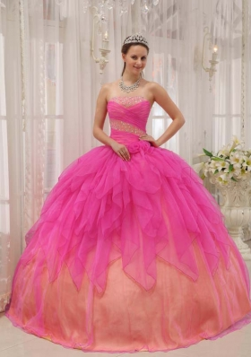 Hot Pink Ball Gown Strapless 2014 Quinceanera Dress with Organza Beading
