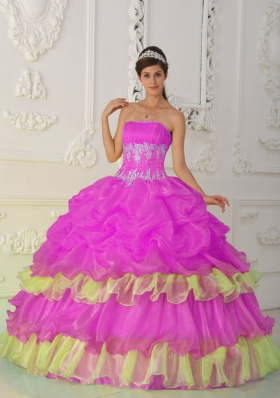 Hot Pink Ball Gown Strapless Quinceanera Dress with  Organza Beading Ruffles