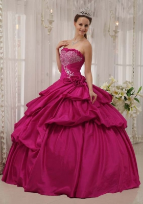 Hot Pink Ball Gown Strapless Quinceanera Dress with Taffeta Beading