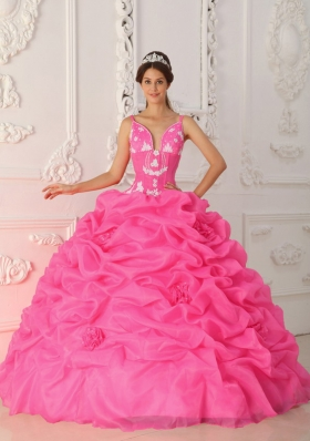 Hot Pink Ball Gown Straps Quinceanera Dress with  Organza Appliques