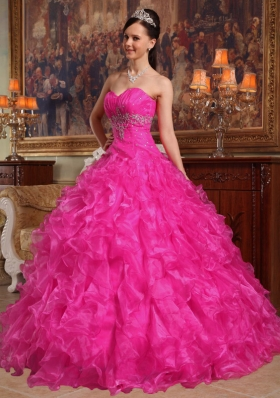 Hot Pink Ball Gown Sweetheart Quinceanera Dress with  Organza Beading