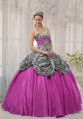 Hot Pink Ball Gown Sweetheart Quinceanera Dress  with Taffeta Zebra Beading