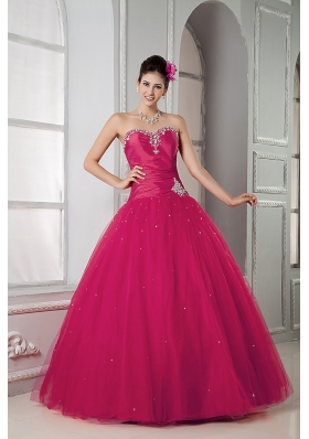 Hot Pink Sweetheart Tulle Beading Quinceaneras Dress for Cheap