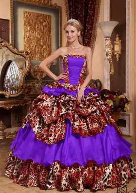 Multi-color Strapless Taffeta and Leopard Pick-ups Dresses For a Quinceanera