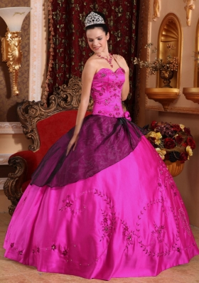 Puffy Sweetheart Quinceanera Dress with Satin Embroidery Beading