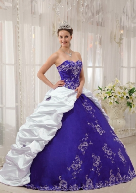 Purple and White Sweetheart Embroidery Quinceanera Dress with Pick-ups