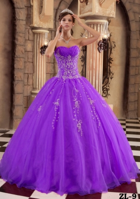 Purple Ball Gown Beading Quinceanera Gowns Dresses with Appliques and Ruching
