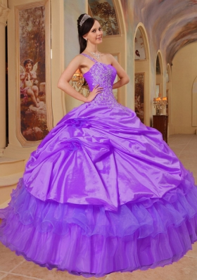 Purple Ball Gown One Shoulder Dress For Quinceanera with Pick-ups