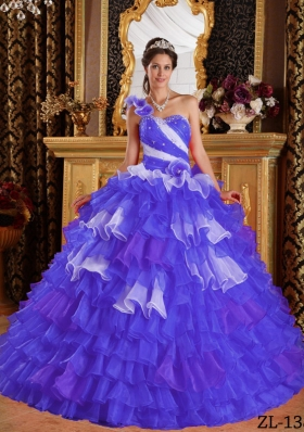 Purple Ball Gown One Shoulder Ruffled Layers and Beading Quinceanera Dress