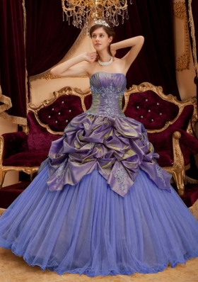 Purple Ball Gown Strapless Beading Pick-ups Quinceanera Dress