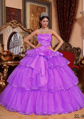 Purple Ball Gown Strapless Ruffled Layers Dresses For a Quince