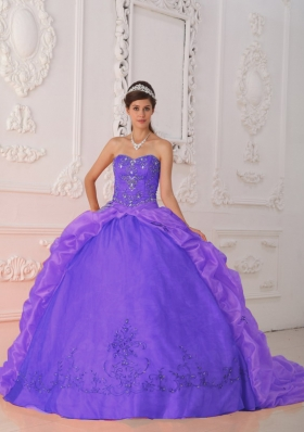 Purple Ball Gown Sweetheart Beading and Appliques Discount Dress For Quinceaner