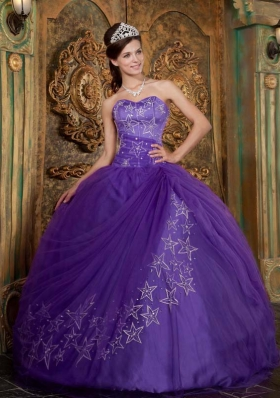 Purple Ball Gown Sweetheart Embroidery Tulle Quinceanera Dress