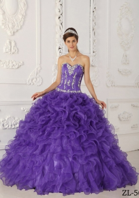 Purple Ball Gown Sweetheart Quinceanera Dresses Gowns with Appliques and Ruffles