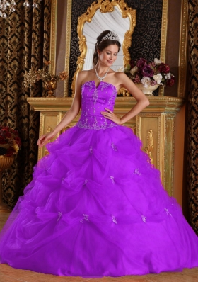 Purple Princess Strapless Tulle Quinceanera Gowns with Pick-ups