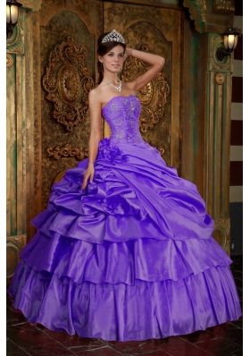 Purple Strapless Beading Pick-ups and Appliques Dresses For a Quince