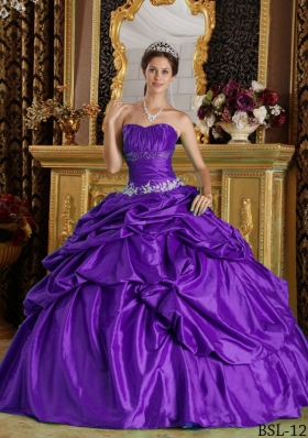 Purple Strapless Discount Quinceanera Gowns with Beading and Pick-ups
