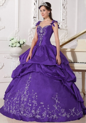 Purple Straps Embroidery Quinceanera Dress with Pick-ups