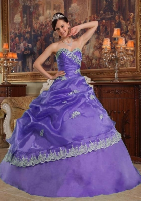 Purple Sweetheart Appliques and Pick-ups Affordable Quinceanera Dress