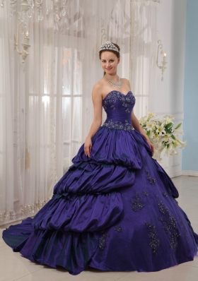 Purple Sweetheart Court Train Quinceanera Gowns with Appliques and Pick-ups