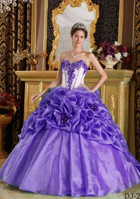 Purple Sweetheart Hand Made Flowers and Pick-ups Quinceanera Dress with Appliques