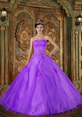 Purple Sweetheart Organza Appliques for Princess Quinceanera Gowns