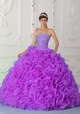 Strapless Quinceanera Gowns with Ruffles and Beading Organza
