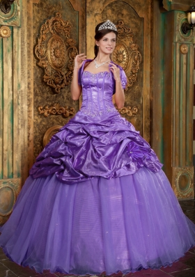 Sweetheart Organza Appliques and Pick-ups for Purple Quinceanera Gowns