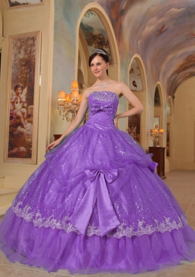 Wonderful Purple Strapless Bows Sequins Dress For Quinceanera