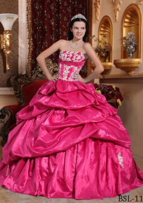 2014 Appliques Hot Pink Ball Gown Strapless Quinceanera Dress