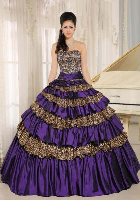 2014 Dark Purple Leopard Ruffled Layers and Appliques With Beading Dresses For a Quince For Custom Made
