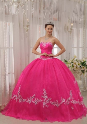 2014 Discount Hot Pink Ball Gown Sweetheart Appliques Quinceanera Gowns
