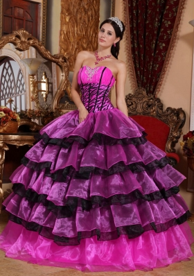 2014 Multi-color Ball Gown Sweetheart Quinceanera Dress with Organza Ruffles
