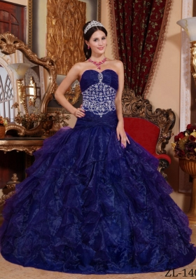 A-line Sweetheart Organza Beading Quinceanera Dress with Ruffles