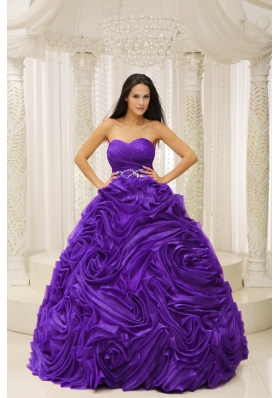 Affordable Purple Sweetheart Beaded Wasit Hand Made Flower 2014 Quinceanera Dress