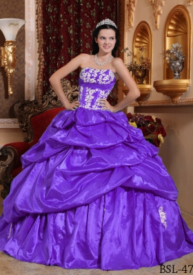 Ball Gown Strapless Appliques and Pick-ups Dresses For 15