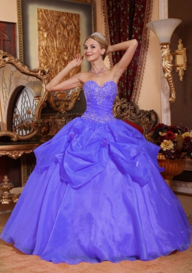Ball Gown Sweetheart Appliques Pick-ups 2014 Purple Quinceanera Dress
