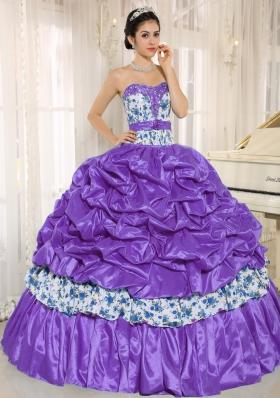 Beaded and Pick-ups For Purple Printing Sweet 16 Dresses Taffeta