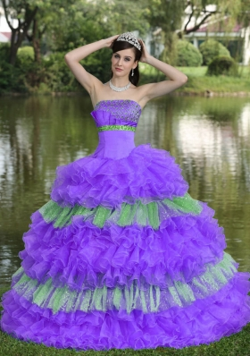 Beaded Decorate Bust Sequins Multi-color Strapless The Super Hot Sweet Quinceanera Dress
