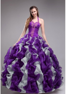 Beautiful Purple Ball Gown Halter Applqiues and Ruffles Quinceanera Dress