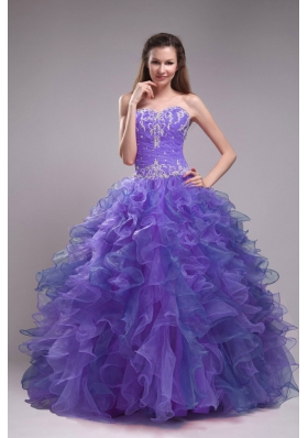 Blue Ball Gown Sweetheart Appliques Quinceanera Dress with Ruffles