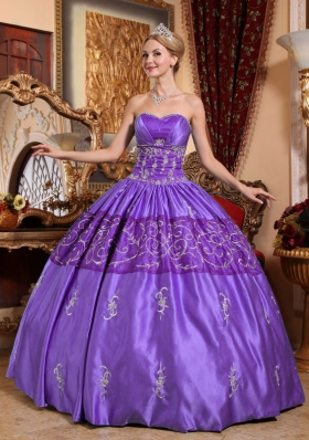 Brand New Purple Ball Gown Sweetheart Embroidery Quinceanera Gowns Dresses